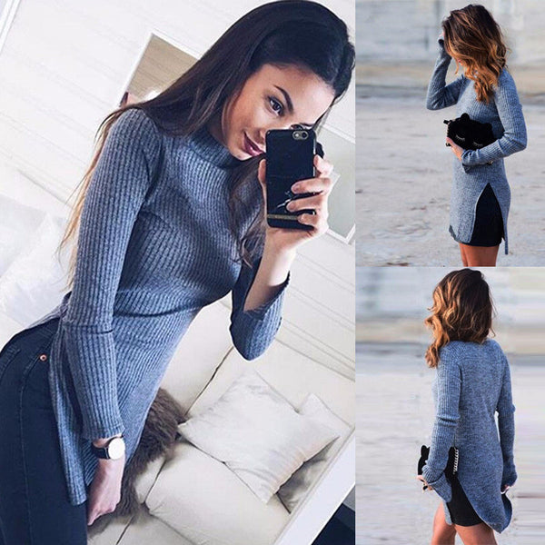 Sexy Fashion high collar Long Sleeve Slim Fit Tight Split Top Sweater Knitwear Dress