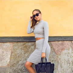 Fashion Knit Long Sleeve Top Sweater Bodycon Skirt Set Two-Piece