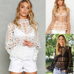 Fashion Lace Hollow Ripped Trumpet long sleeve lace Smock Shirt Top Tee