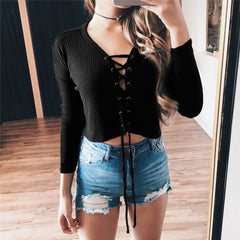 Fashion Solid Color V-Neck Strappy Cross Tight Long Sleeve Top Sweater Pullover