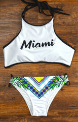 Fashion Print Letter Pattern Bandage Halter Bikini Set Swimsuit Swimwear