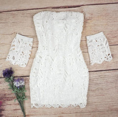 Lace Strapless Crochet Bodycon Dress