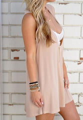 Loose Solid Color V- Neck Fashion Dress