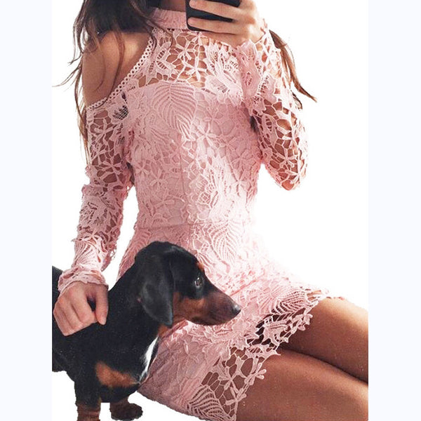 Fashion Lace Hollow Off Shoulder Irregular Long Sleeve Bodycon Mini Dress