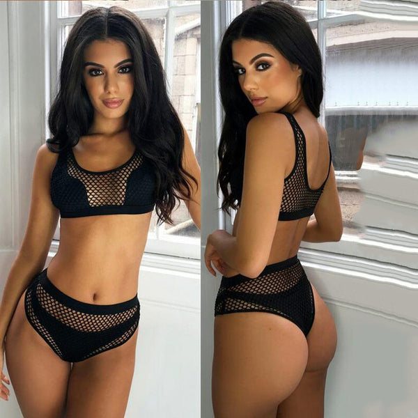 High Waist Mesh Solid Color Bikini Set Swimsuit Swimwear