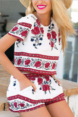 Fashion Print Casual Short Sleeve Two-Piece Suit