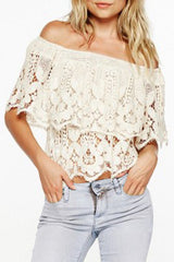 White Strapless Lace Beach Shirt Blouse Tops