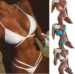 Sexy Hollow Out Strap Bikini Set Swimsuit Swimwear