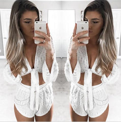Hollow Lace Casual Long Sleeve Two-Piece Set
