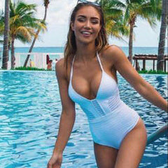 Sexy Hollow V-Neck Halter One Piece Swimsuit Swimwear