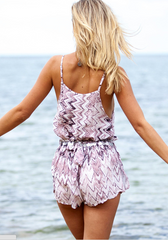 Fashion Print Strap Romper jumpsuit