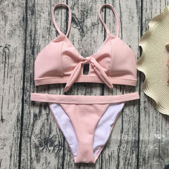 Bow Strap Hollow Out Beach Bikini Set Swimsuit Swimwear
