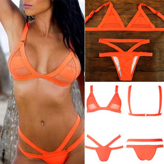 Fashion Gauze Hollow Strap Beach Bikini Set Swimsuit Swimwear