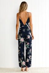 Deep V Fashion Backless Flower Romper Jumpsuit