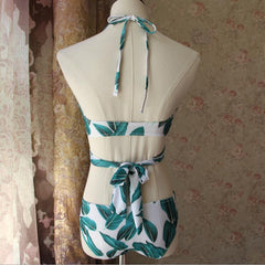 Fashion Leaves Print Strap Bikini Set Swimsuit Swimwear
