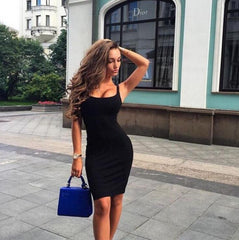 Sexy Sling Solid Color Bodycon Dress