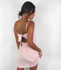 Backless Tie Strap Solid Color Mini Dress