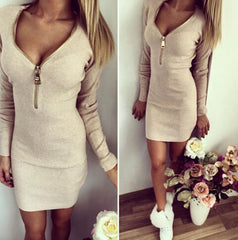 Zipper V-neck long-sleeved dress