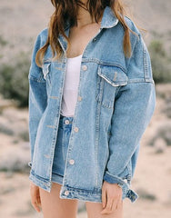Lapel buttons denim Cardigan Jacket Coat