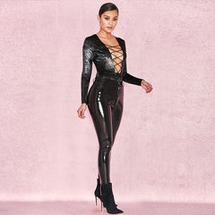 High Waist Fashion Leather Tight Pants Trousers