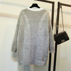 Fashion Crochet Loose Long Cardigan Open-Front Sweater Cardigan Coat  Outwear