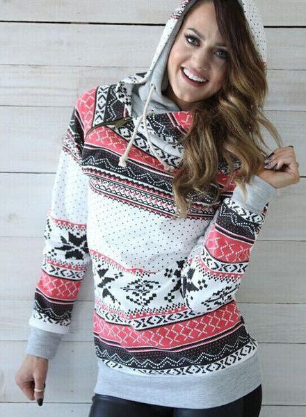 Fashion Casual Multicolor Pattern Print Long Sleeve Top Sweater Pullover Hoodie Knitwear
