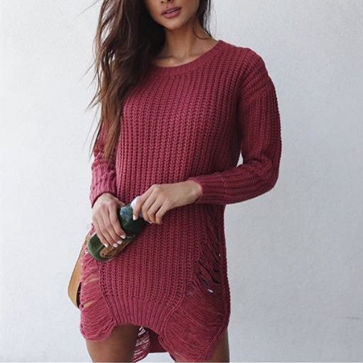 Women Fashion Tassel Ripped Knit Top Sweater Dress