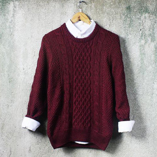 Men Fashion Retro Scoop Neck Top Sweater Pullover Thickened warm long sleeve Knitwear