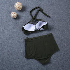 High Waist Solid Color Bandage Bikini Swimsuit Swimwear