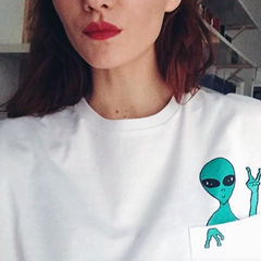 Aliens fashion printed short sleeve Shirt Blouse Tops
