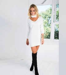 Fashion Long Sleeve Halter Hollow V-Neck loose blouse top Sweater Knitwear