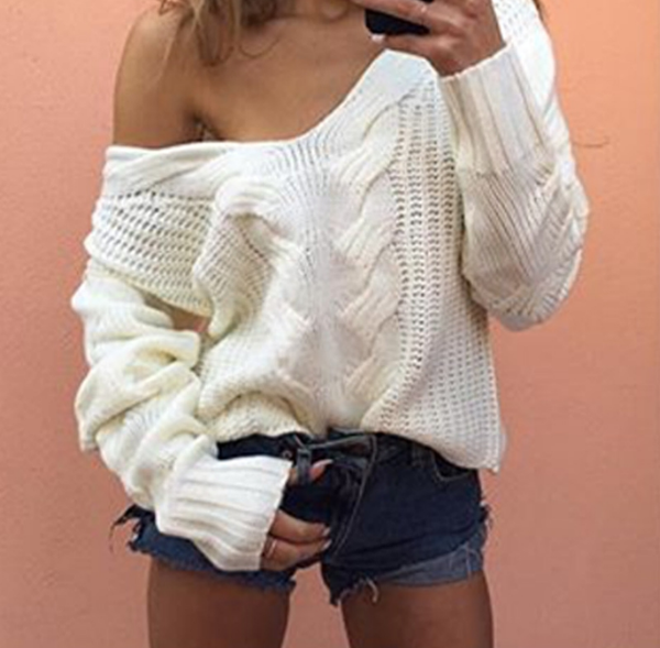 Fashion Sexy V-Neck Off Shoulder Hollow loose blouse top Sweater Knitwear