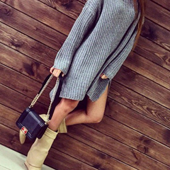 Fashion Crochet Long Sleeve Split Top Sweater Knitwear Dress