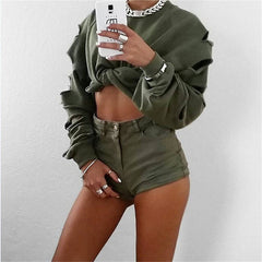 Casual Ripped Hollow loose blouse top Leaky belly button Top Sweater