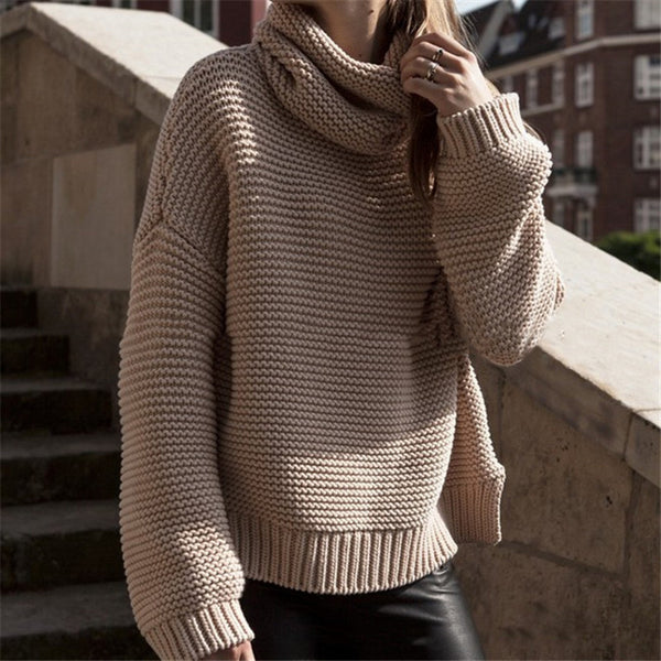 Fashion high collar Hollow Long Sleeve Top Sweater Knitwear