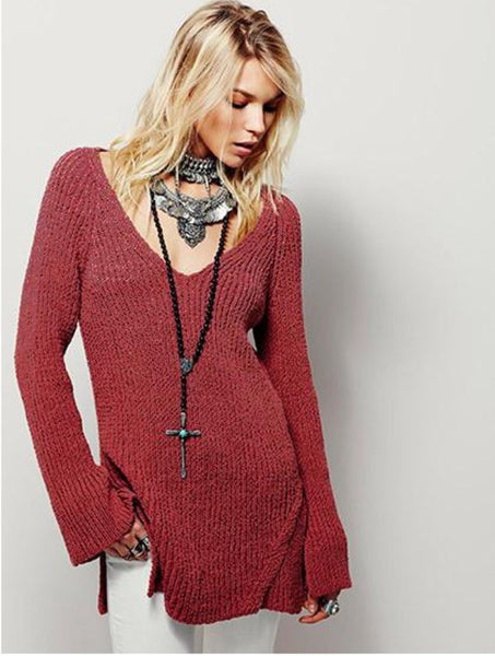 Casual Sexy Backless Hollow V-Neck Long Sleeve Top Sweater Knitwear