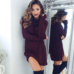 Fashion High Collar Top Slim Fit Dress Pullover Sweater Knitwear