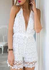 Lace Deep V-Neck Halter Romper Jumpsuit