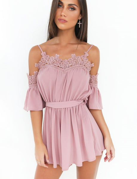 Lace Strap Short Sleeve Off the Shoulder Romper Jumpsuit