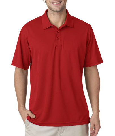 UltraClub Men's Cool & Dry Mesh Pique Polo - Red