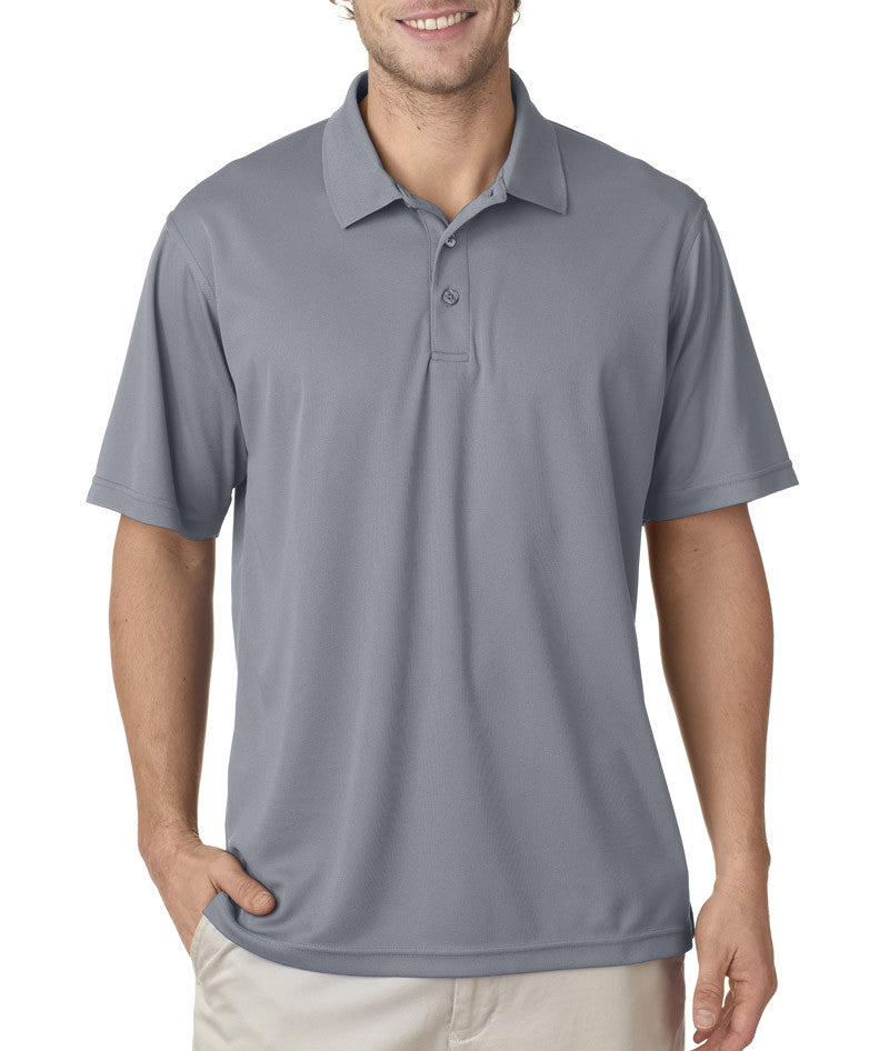 UltraClub Men's Cool & Dry Mesh Pique Polo - Silver