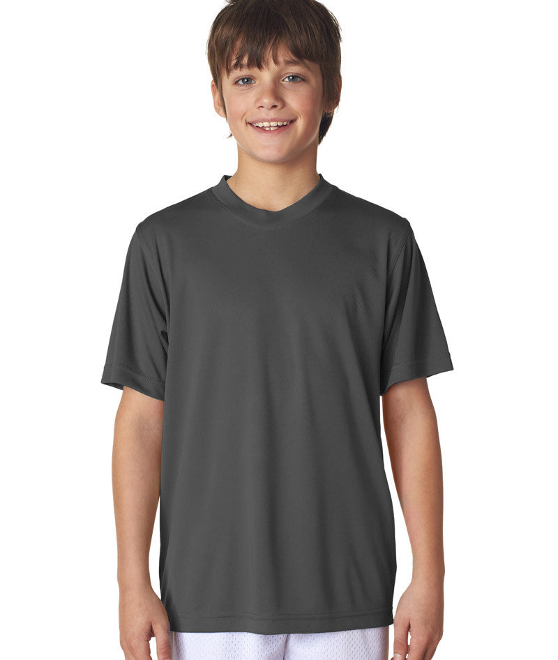 UltraClub® Youth Cool & Dry Sport Performance Interlock Tee - Charcoal