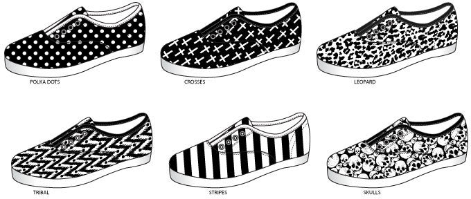 Ladies Black & White Printed Laceless Sneakers Case Pack 36