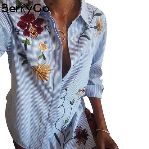 BerryGo long sleeve striped shirt women  Casual bird pattern chemise femme