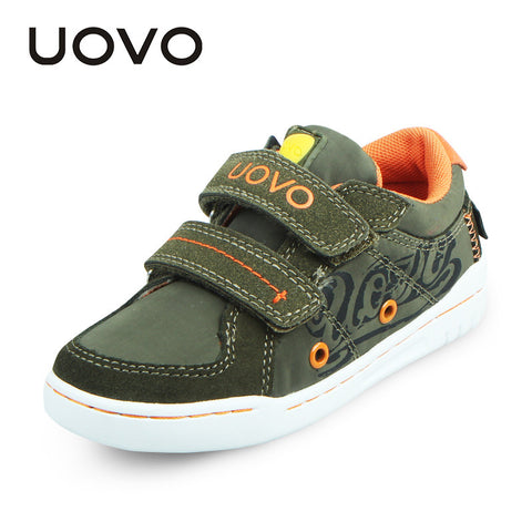 UOVO Children Double Hoop-and-loop straps Fabric Suede Sneakers Brand
