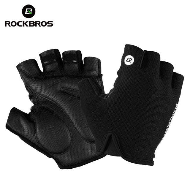 ROCKBROS Cycling  Half Finger Bike Shockproof Breathable MTB Mountain Bicycle Gloves