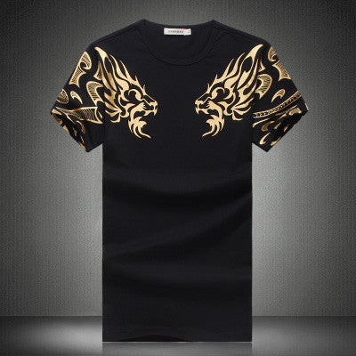 New High-End Men's Brand T-Shirt Fashion Slim Gold Dragon Printing Plus Size Short-Sleeved Men 5XL