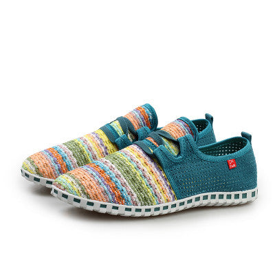 Tangnest Breathable Mesh Shoes Men Beach Couple  Rainbow Color Comfort Slip On Flats