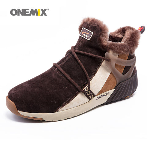 ONEMIX Winter Men's Boots Warm Wool Sneakers Unisex Athletic Running Shoes
