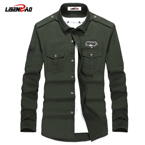 High quality men's military uniform style men long sleeved shirt